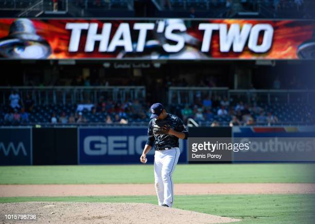 Kazuhisa Makita of the San Diego Padres pitches during the ninth inning of a baseball game against the Philadelphia Phillies at PETCO Park on August...