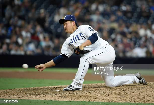 Kazuhisa Makita of the San Diego Padres pitches during the ninth inning of a baseball game against the Arizona Diamondbacks at PETCO Park on...