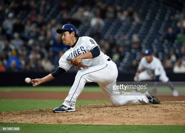 Kazuhisa Makita of the San Diego Padres pitches during the ninth inning of a baseball game against the Colorado Rockies at PETCO Park on April 3 2018...