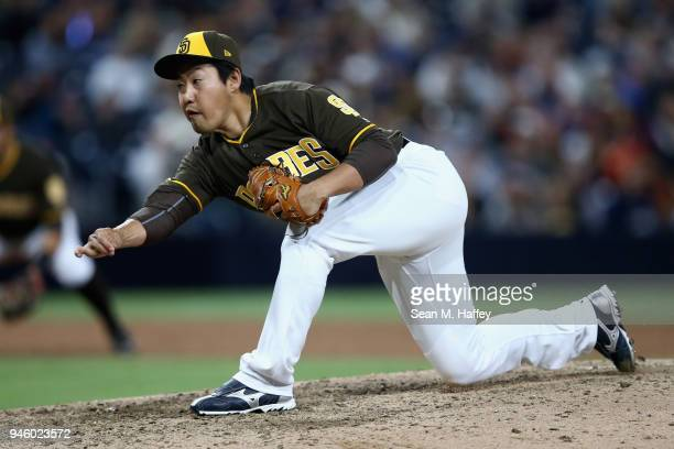 Kazuhisa Makita of the San Diego Padres pitches during the ninth inning of a game against the San Francisco Giants at PETCO Park on April 13 2018 in...