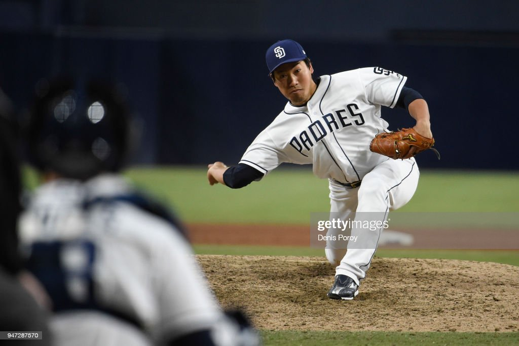 Kazuhisa Makita #53 of the San Diego Padres pitches during the ninth inning of a baseball game against the Los Angeles Dodgers at PETCO Park on April 16, 2018 in San Diego, California.