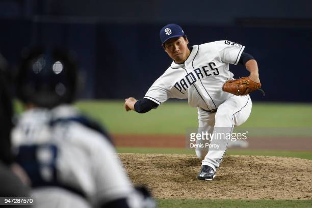 Kazuhisa Makita of the San Diego Padres pitches during the ninth inning of a baseball game against the Los Angeles Dodgers at PETCO Park on April 16...