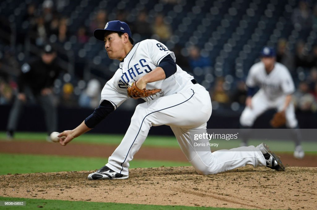 Kazuhisa Makita #53 of the San Diego Padres pitches during the ninth inning of a baseball game against the Miami Marlins at PETCO Park on May 29, 2018 in San Diego, California.