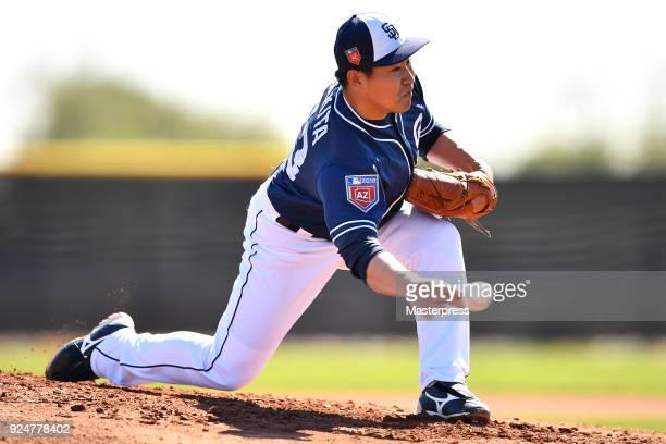 Kazuhisa Makita of the San Diego Padres pitches during the San Diego Padres spring training on February 26 2018 in Peoria Arizona
