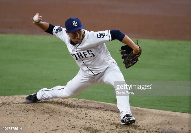 Kazuhisa Makita of the San Diego Padres pitches during the second inning of a baseball game against the Arizona Diamondbacks at PETCO Park on August...