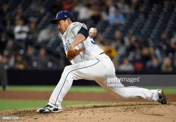 Kazuhisa Makita of the San Diego Padres pitches during the sixth inning of a baseball game against the Colorado Rockies at PETCO Park on May 14 2018...