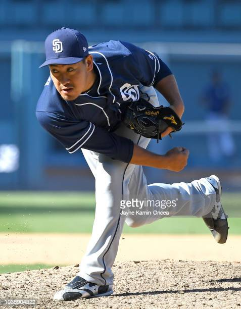 Kazuhisa Makita of the San Diego Padres pitches in the eighth inning of the game against the Los Angeles Dodgers at Dodger Stadium on September 23...