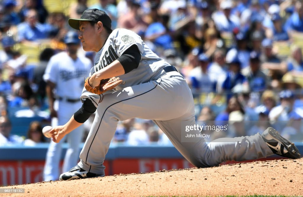 Kazuhisa Makita #53 of the San Diego Padres pitches in the fifth inning against the Los Angeles Dodgers at Dodger Stadium on May 27, 2018 in Los Angeles, California.