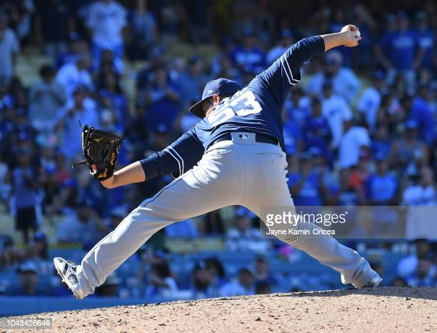 Kazuhisa Makita of the San Diego Padres pitches in the game against the Los Angeles Dodgers at Dodger Stadium on September 23 2018 in Los Angeles...