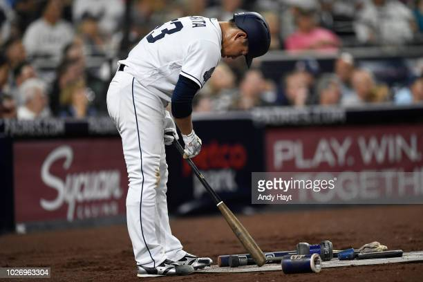 Kazuhisa Makita of the San Diego Padres rprepares to hit during the game against the Arizona Diamondbacks at PETCO Park on August 16 2018 in San...