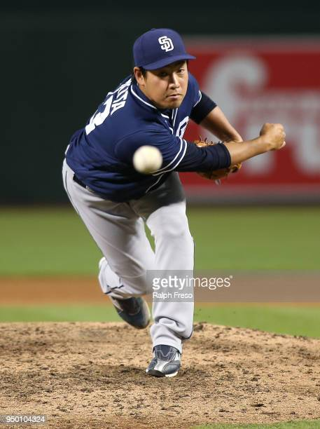 Kazuhisa Makita of the San Diego Padres throws a pitch against the Arizona Diamondbacks during the seventh inning of an MLB game at Chase Field on...