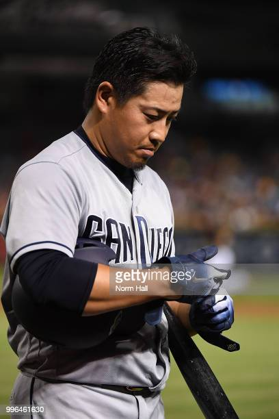 Kazuhisa Makita of the San Diego Padres walks back to the dugout after a fourth inning at bat against the Arizona Diamondbacks at Chase Field on July...