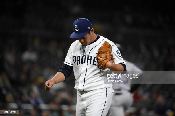 Kazuhisa Makita of the San Diego Padres walks off the field after pitching during the sixth inning of a baseball game against the Colorado Rockies at...