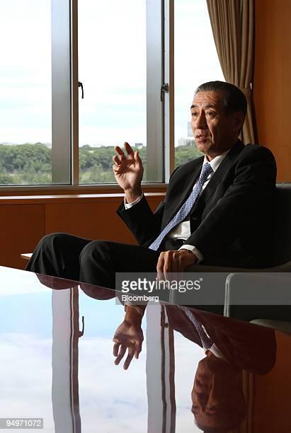 Kazuhisa Nakano president of Idemitsu Kosan Co speaks during an interview in Tokyo Japan on Friday Aug 7 2009 Idemitsu Kosan Co is Japan's...