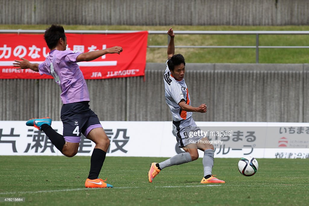 Kazuhito Kishida of Renofa Yamaguchi scores his team's fourth goal to make a hat trick during the J.League third division match between Fujieda MYFC and Renofa Yamaguchi at Fujieda Stadium on June 7, 2015 in Fujieda, Shizuoka, Japan.