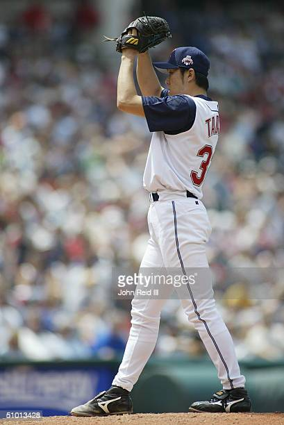 Kazuhito Tadano of the Cleveland Indians pitches against the Cincinnati Reds during the MLB game on June 13 2004 at Jacobs Field in Cleveland Ohio...