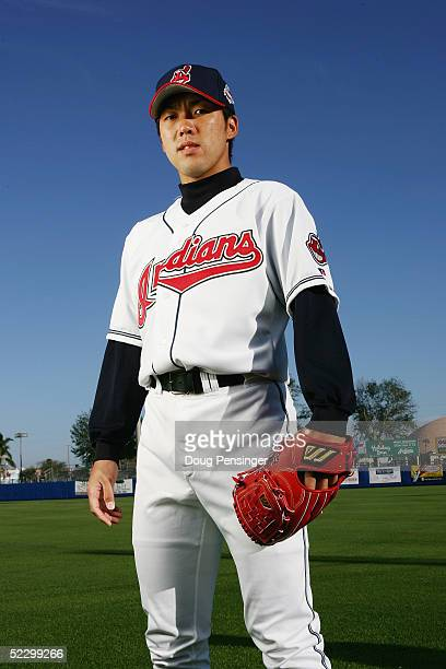 Kazuhito Tadano of the Cleveland Indians poses for a portrait during photo day at Chain of Lakes Park on March 1 2005 in Winter Haven Florida