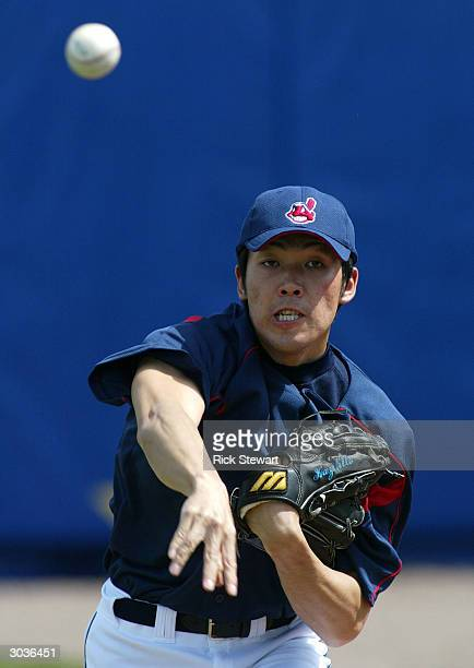 Kazuhito Tadano of the Cleveland Indians throws a pitch during Photo Day on March 2 2004 at Chain O' Lakes Park in Winter Haven Florida