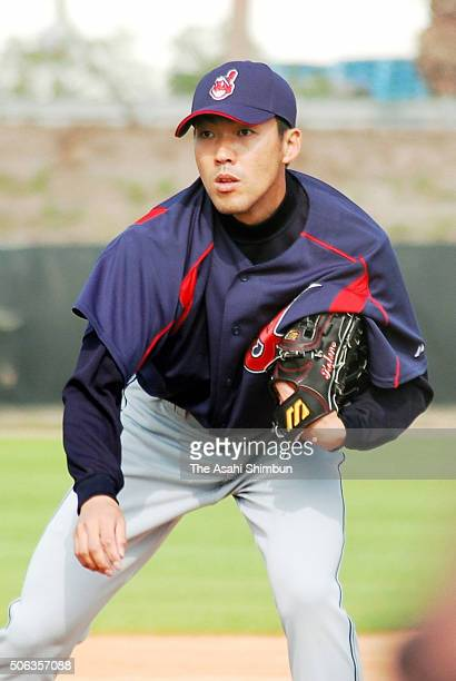 Kazuhito Tadano of the Cleveland Indians throws during a spring traing camp on February 21 2005 in Winter Haven Florida