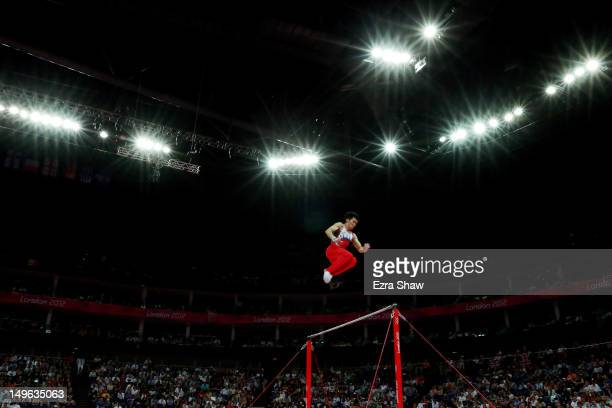 Kazuhito Tanaka of Japan competes on the horizontal bar in the Artistic Gymnastics Men's Individual All-Around final on Day 5 of the London 2012...