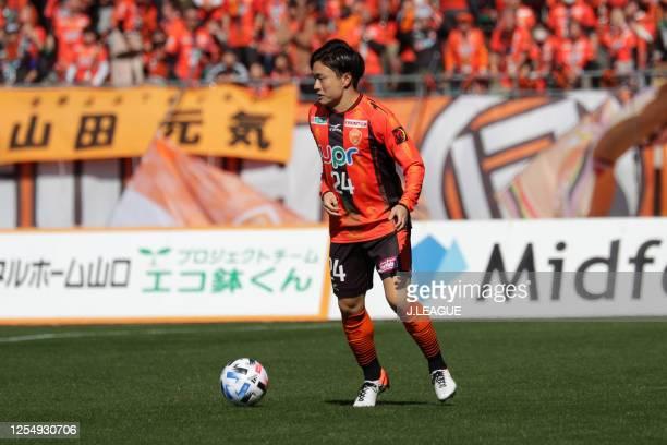 Kazuki Anzai of Renofa Yamaguchi in action during the J.League MEIJI YASUDA J2 match between Renofa Yamaguchi and Kyoto Sanga at Ishin Me-Life...