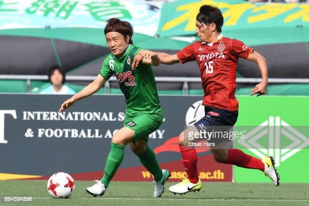Kazuki Anzai of Tokyo Verdy and Kazuya Miyahara of Nagoya Grampus compete for the ball during the J.League J2 match between Tokyo Verdy and Nagoya...