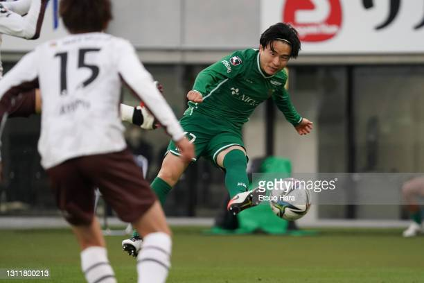 Kazuki Anzai of Tokyo Verdy attempts a shot during the J.League Meiji Yasuda J2 match between Tokyo Verdy and Renofa Yamaguchi at Ajinomoto Stadium...