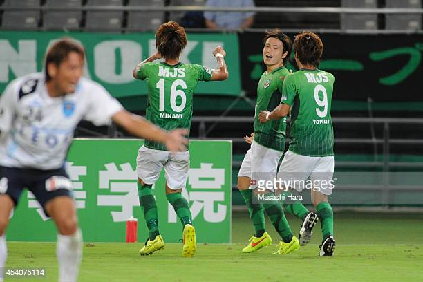 Kazuki Anzai of Tokyo Verdy celebrates the first goal during the J. League second division match between Tokyo Verdy and Yokohama FC at Ajinomoto...