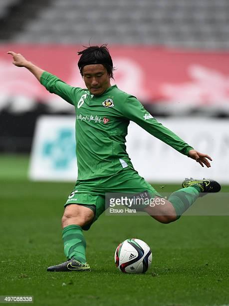 Kazuki Anzai of Tokyo Verdy in action during the J.League second division match between Tokyo Verdy and Zweigen Kanazawa at the Ajinomoto Stadium on...