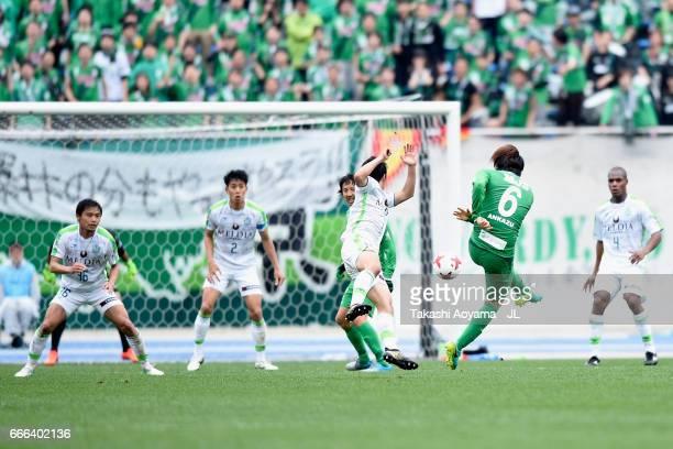 Kazuki Anzai of Tokyo Verdy scores his side's second goal during the J.League J2 match between Tokyo Verdy and Shonan Bellmare at Komazawa Stadium on...