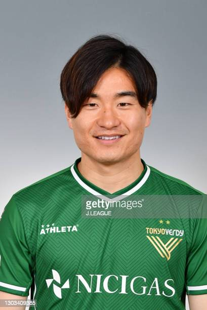 Kazuki Anzai poses during the Tokyo Verdy portrait session on January 26, 2021 in Japan.