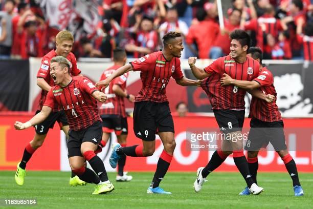 Kazuki Fukai of Consadole Sapporo celebrates scoring his side's second goal during the JLeague Levain Cup Final between Consadole Sapporo and...