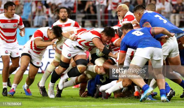 Kazuki Himeno of Japan charges to score his side's second try during the Rugby World Cup 2019 Group A game between Japan and Samoa at City of Toyota...