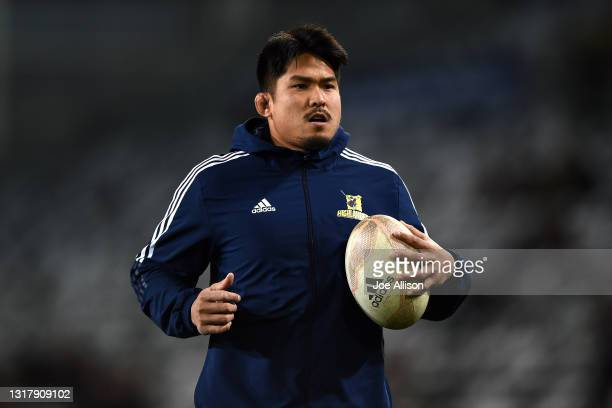 Kazuki Himeno of the Highlanders looks on ahead of the round one Super Rugby Trans-Tasman match between the Highlanders and the Queensland Reds at...