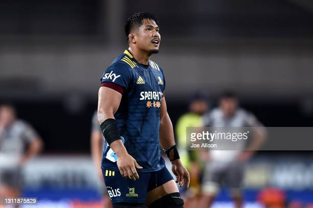 Kazuki Himeno of the Highlanders looks on during the round seven Super Rugby Aotearoa match between the Highlanders and the Chiefs at Forsyth Barr...