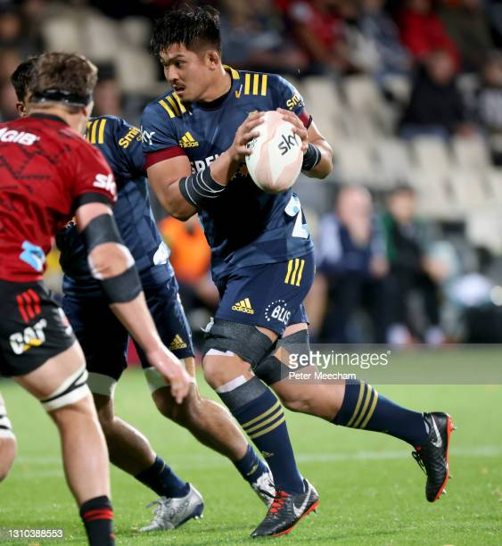 Kazuki Himenoof the Highlanders in action during the round 6 Super Rugby Aotearoa match between the Crusaders and Highlanders at Orangetheory...
