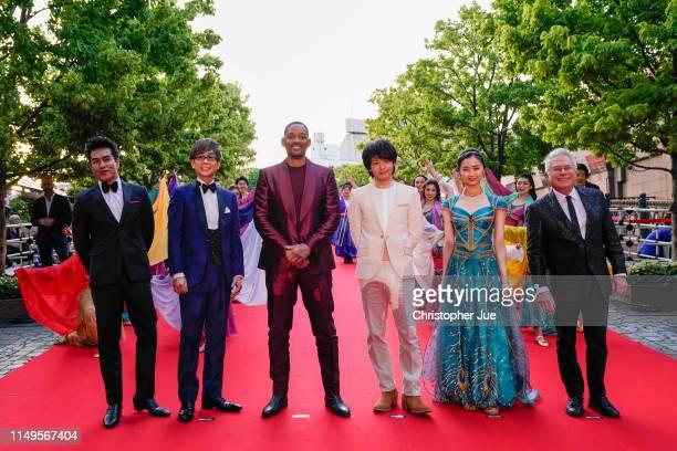 Kazuki Kitamura Kōichi Yamadera Will Smith Tomoya Nakamura Haruka Kinoshita and Alan Menken attend the parade for 'Aladdin' Japan premiere on May 16...
