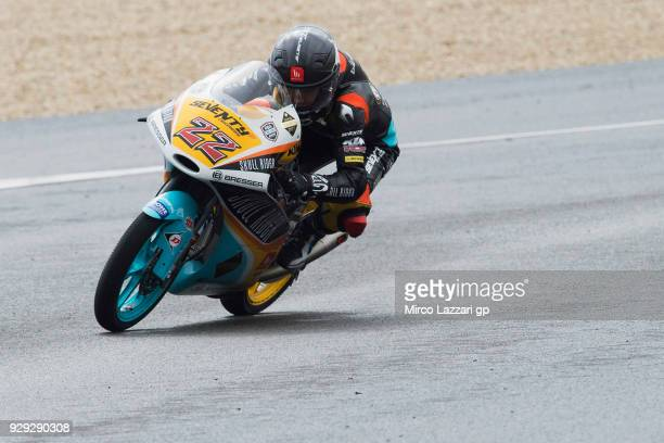Kazuki Masaki of Japan and RBA Boe Skull Rider KTM rounds the bend during the Moto2 Moto3 Tests In Jerez at Circuito de Jerez on March 8 2018 in...