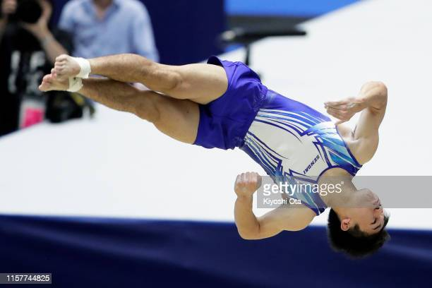 Kazuki Minami competes in the Men's Floor Exercise final on day two of the 73rd All Japan Artistic Gymnastics Apparatus Championships at Takasaki...