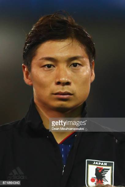 Kazuki Nagasawa of Japan lines up for the national anthem prior to the international friendly match between Belgium and Japan held at Jan Breydel...