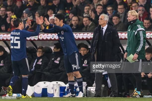 Kazuki Nagasawa of Japan Ryota Morioka of Japan coach Vahid Halilhodzic of Japan during the friendly match between Belgium and Japan on November 14...