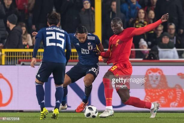 Kazuki Nagasawa of Japan Tomoaki Makino of Japan Romelu Lukaku of Belgium during the friendly match between Belgium and Japan on November 14 2017 at...