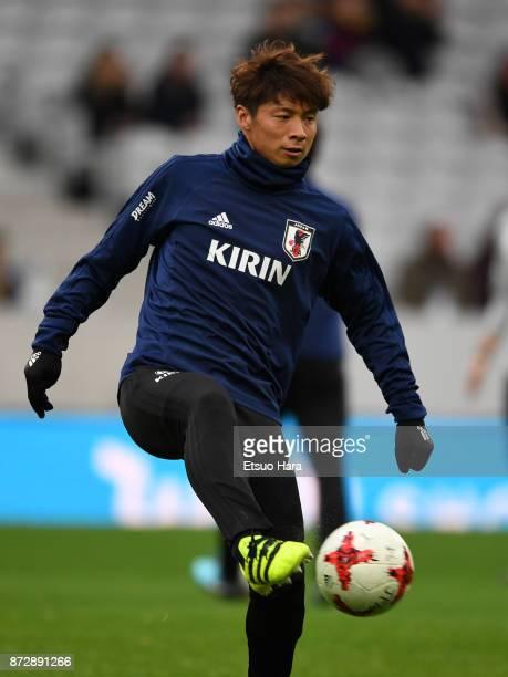 Kazuki Nagasawa of Japan warms up prior to the international friendly match between Brazil and Japan at Stade PierreMauroy on November 10 2017 in...
