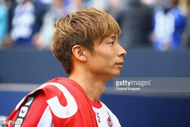 Kazuki Nagasawa of Koeln sits on the bench during the Bundesliga match between FC Schalke 04 and 1 FC Koeln at VeltinsArena on October 4 2015 in...
