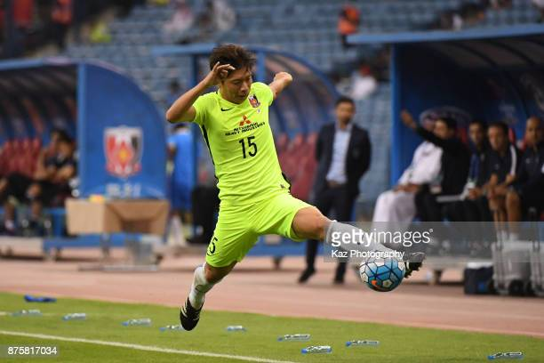 Kazuki Nagasawa of Urawa Red Diamonds controls the ball during the AFC Champions League Final 2017 first leg between AlHilal and Urawa Red Diamonds...