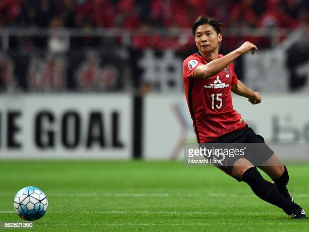 Kazuki Nagasawa of Urawa Red Diamonds in action during the AFC Champions League semi final second leg match between Urawa Red Diamonds and Shanghai...