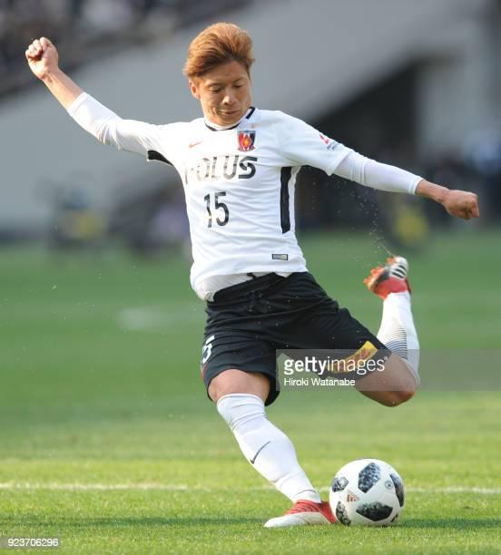 Kazuki Nagasawa of Urawa Red Diamonds in action during the JLeague J1 match between FC Tokyo and Urawa Red Diamonds at Ajinomoto Stadium on February...