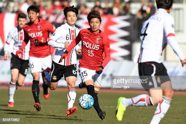 Kazuki Nagasawa#15 of Urawa Red Diamonds in action during the preseason friendly between Urawa Red Diamonds and FC Seoul at Urawa Komaba Stadium on...