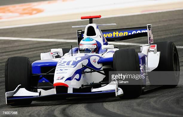 Kazuki Nakajima of Japan and DAMS competes during the GP2 Series race held before the Bahrain Formula One Grand Prix at the Bahrain International...