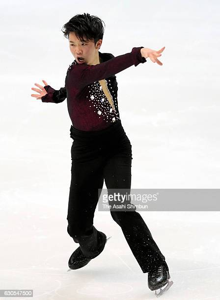 Kazuki Tomono competes in the Men's Singles Short Program during day two of the 85th All Japan Figure Skating Championships at Towa Yakuhin RACTAB...